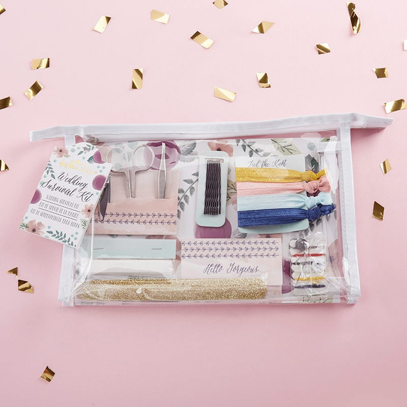 Floral Wedding Survival Kit Wedding Survival Kit Cosmetic Bag image 0