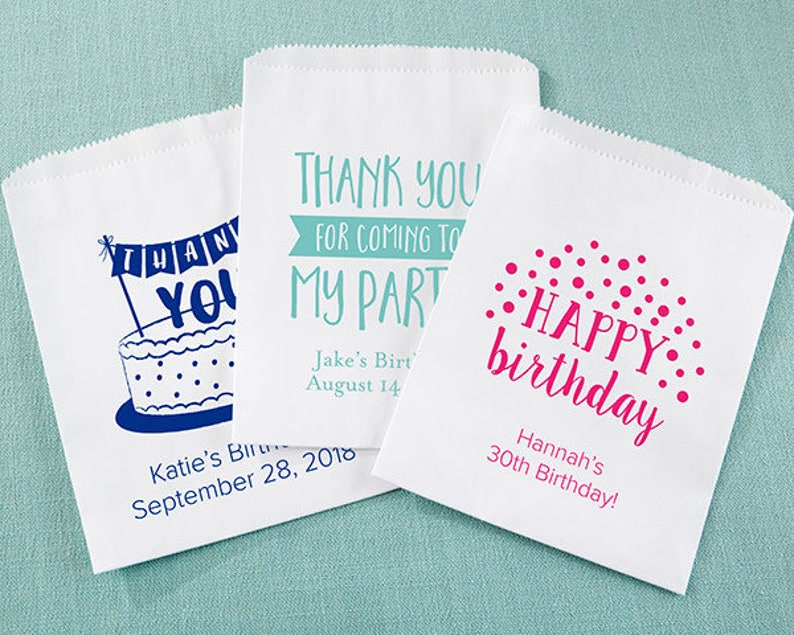 Personalized White Goodie Bags Adult Birthday Set of 12 Treat Sweets Trinket Candy Buffet Bag Dessert Bar Party Guest Favor Custom Favour