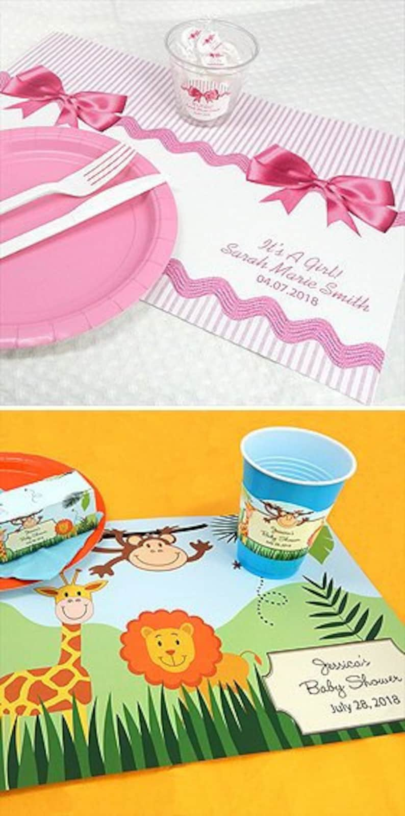 SET Of 24 Baby Placemats Safari Owl Festive Luncheon Baby Shower Mom To Be Gender Reveal Girl Boy Dinner Table Setting Party Decorations