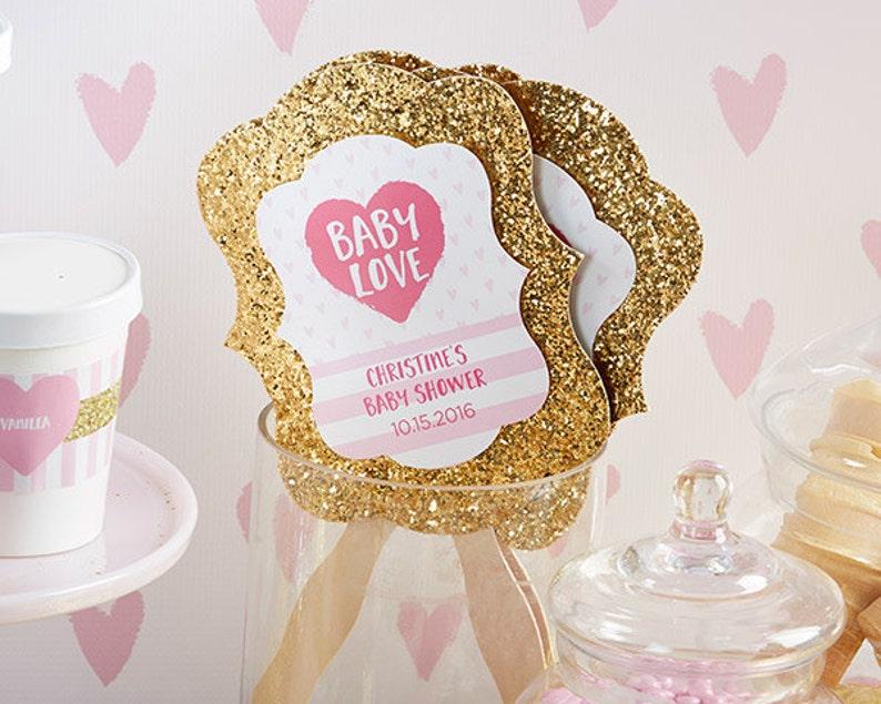 Personalized Gold Glitter Hand Fan Baby Love Set of 12 Wedding Program Fans Paddle Hand Held Summer Bling Glitz Glam Bridal Shower Favors