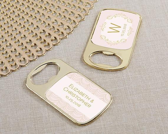 Personalized Chalk or Woodgrain Epoxy Metal Bottle Opener Bridal Wedding Favor