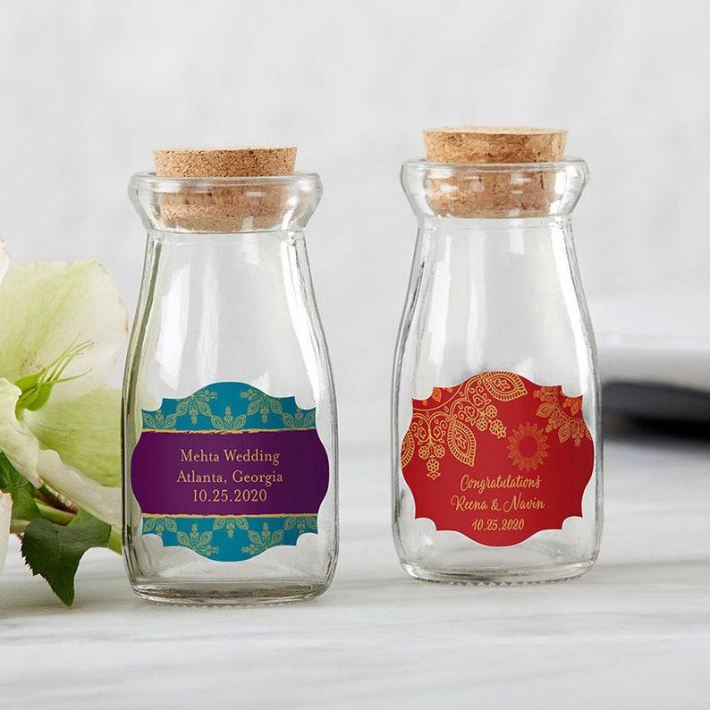 63bec91feda Personalized Vintage Milk Bottle Favor Jar Indian Jewel Set of