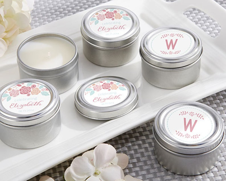 Personalized Travel Candle Rustic Bridal Shower Collection Blush Floral Monogram Custom Candles Tin Can Shabby Chic Wedding Bridal Favors