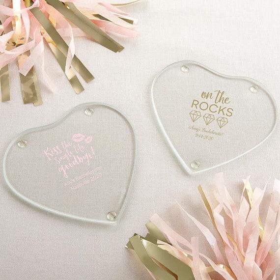 faa9dc02c45 Personalized Glass Heart Shaped Coaster Bachelor