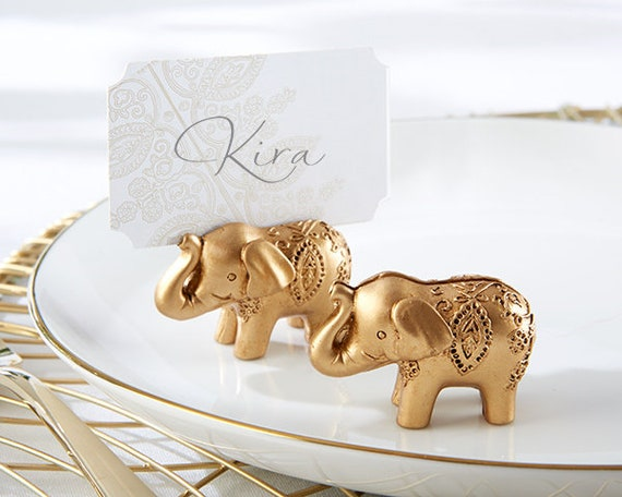 Pack of 5 Wedding Reception Supplies Favors India Indian Elephant Gold Place Card Holder Frames