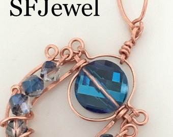 Chinese copper and Crystal Necklace