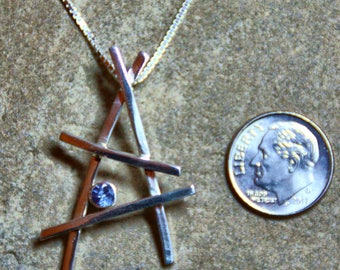 One Of a Kind Stickwork Pendant with Blue Sapphire