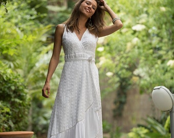 39289c4ff5f White Eyelet Wrap Maxi Dress, Hippie Urban Evening & Day Summer Dress, Lace  Boho Long Wedding Dress, Romantic Frill Cotton Penelope Dress