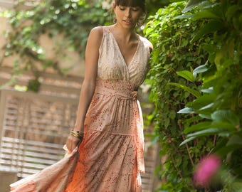 Hippie Urban Evening Maxi Dress, Unique Floral Maxi Dress, Bridesmaid dress, Peach-pinkish, Summer Romantic Flower Cotton Boho Carrie Dress
