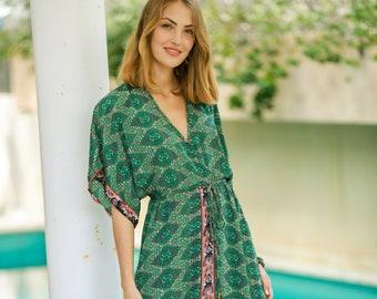 20ca491957 Vacation Maxi Beach Dress, Silky Kaftan Summer Party Oversize Dress, Women  Beach Wear, Long Tribal Loose Green Dress, Resort Dress
