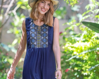 53db6864c92f Dark Blue Embroidered Short Summer Dress, Loose Sleeveless Embroidery Dress,  Boho Rayon Casual Tamara Dress