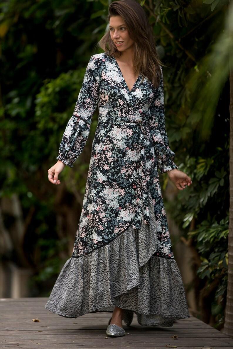 b23e1d756f135d Zwarte bloemen Wrap Maxi jurk Boho lange mouwen jurk Black