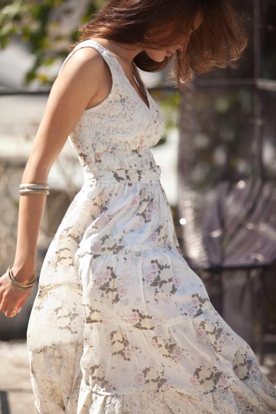 Boho Flower Long Romantic Maxi Maxi Dress Unique Urban Day XL S Cream Evening Dress Summer Dress Hippie Cotton amp; Dress Carrie size zqw6xZgx