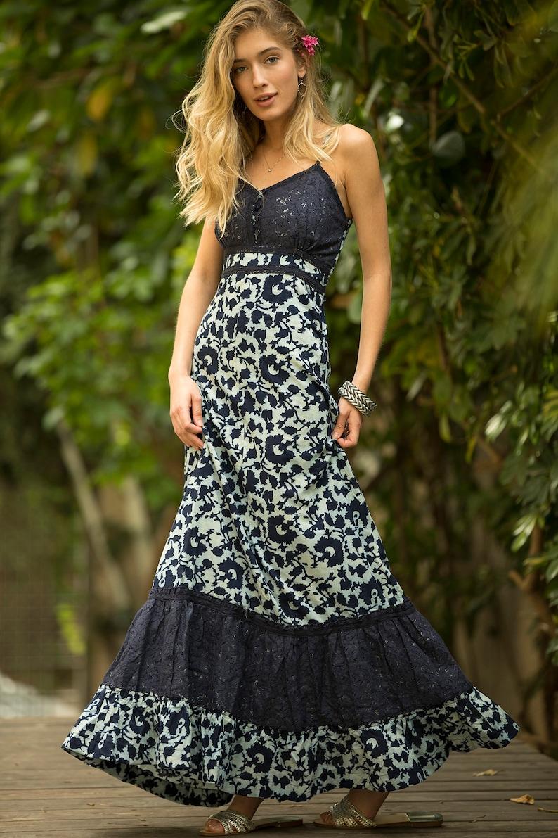 Navy Blue Cotton Lace Maxi Dress Women s Floral Boho  59a14122a05c