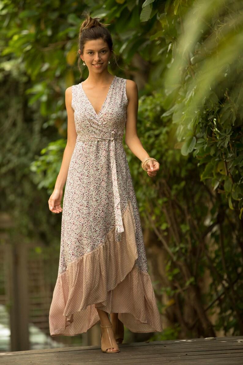 82448dea4546 Blush Pink Wrap Summer Maxi Dress Floral Romantic Spanish   Etsy