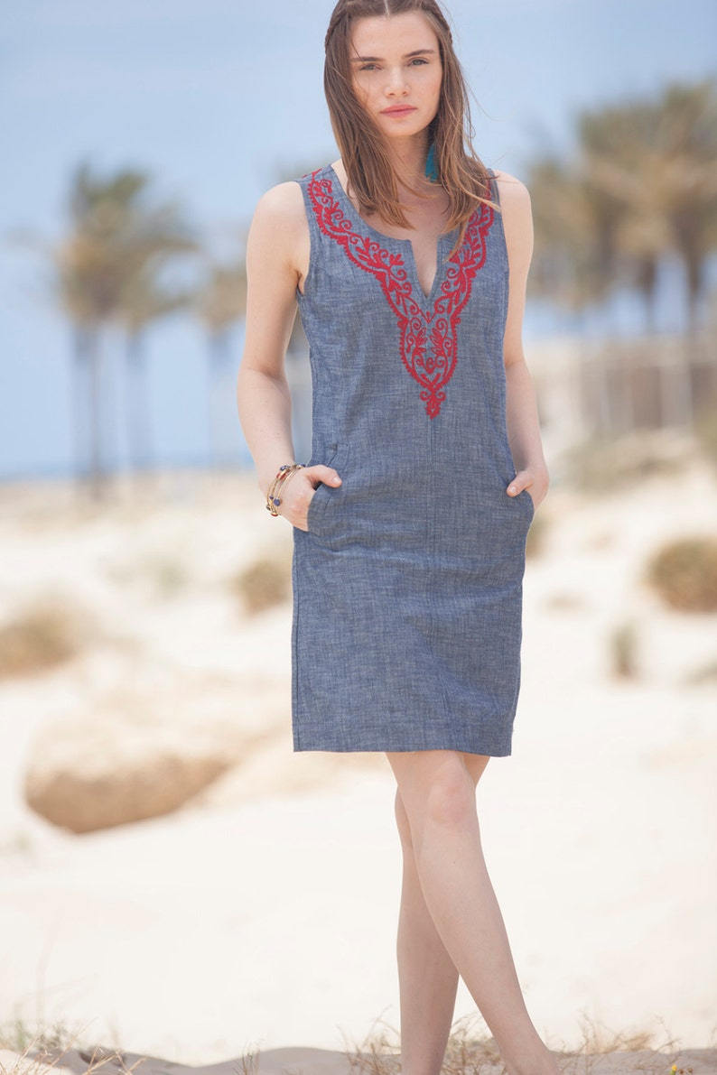 6c75be264080 Jeans short Summer Dress Tribal Jeans dress Jeans embroidery