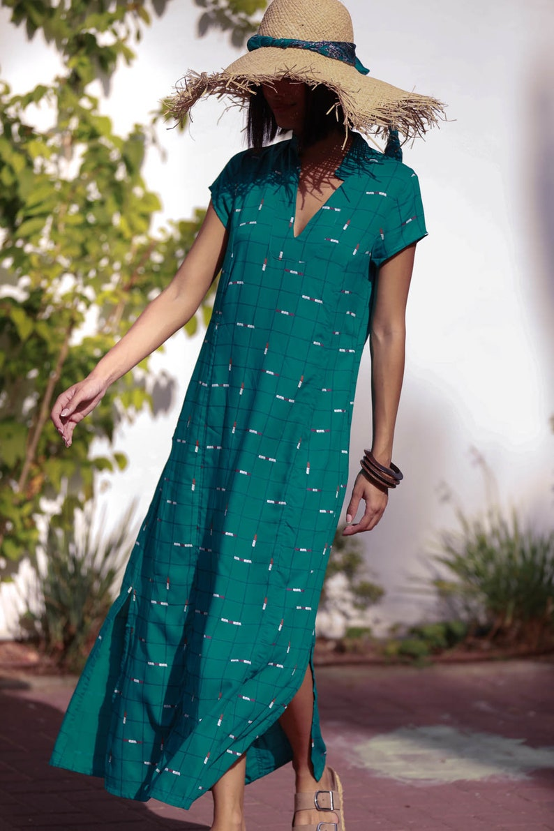 Boho Rayon Loose Nur Dress Turquoise Kaftan Maxi Dress Ethnic Casual Light Summer Caftan Dress with Pockets