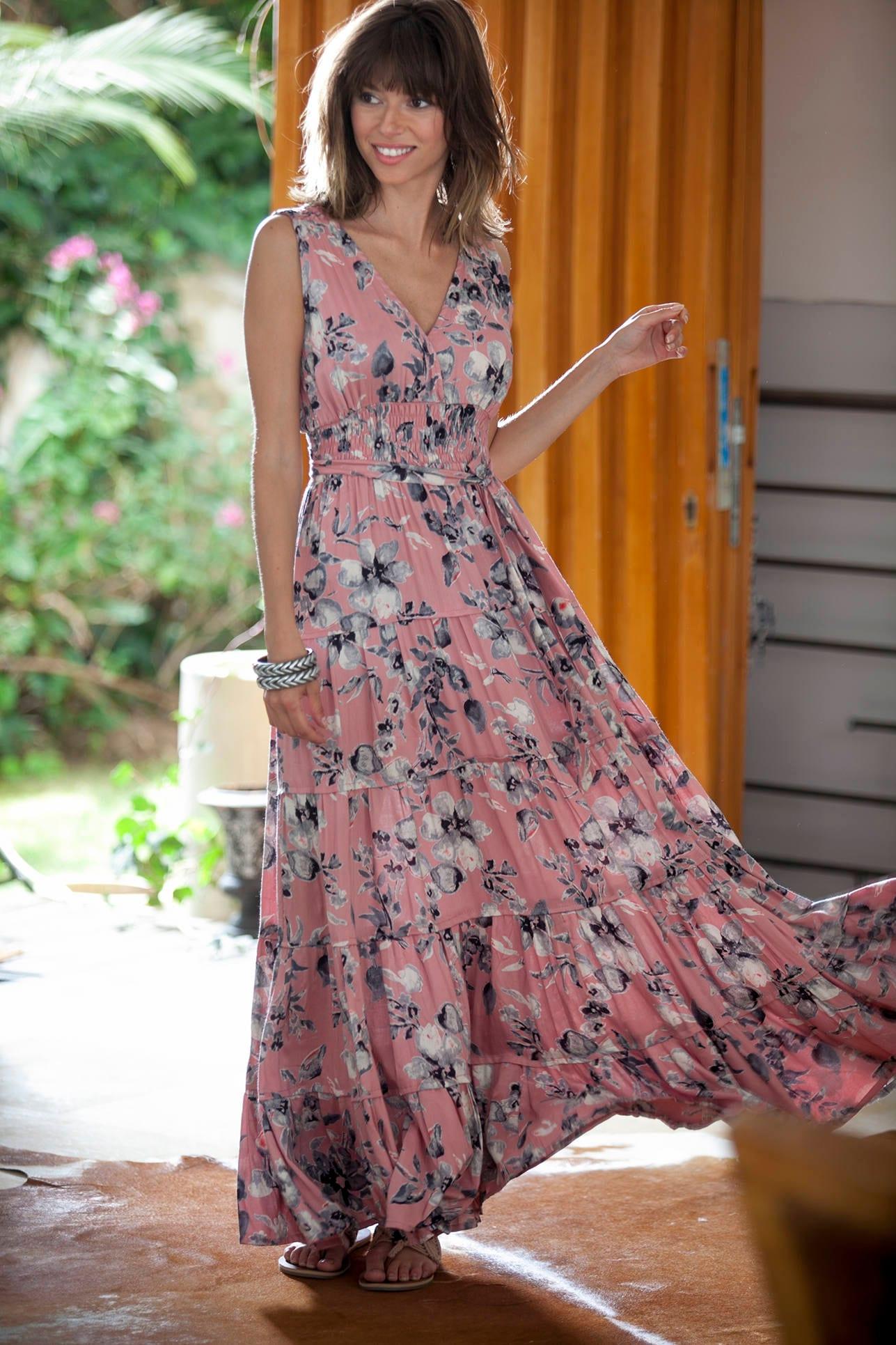 Rosa Boho Maxi-Kleid Hippie Urban Abendkleid Sommer Maxi ...