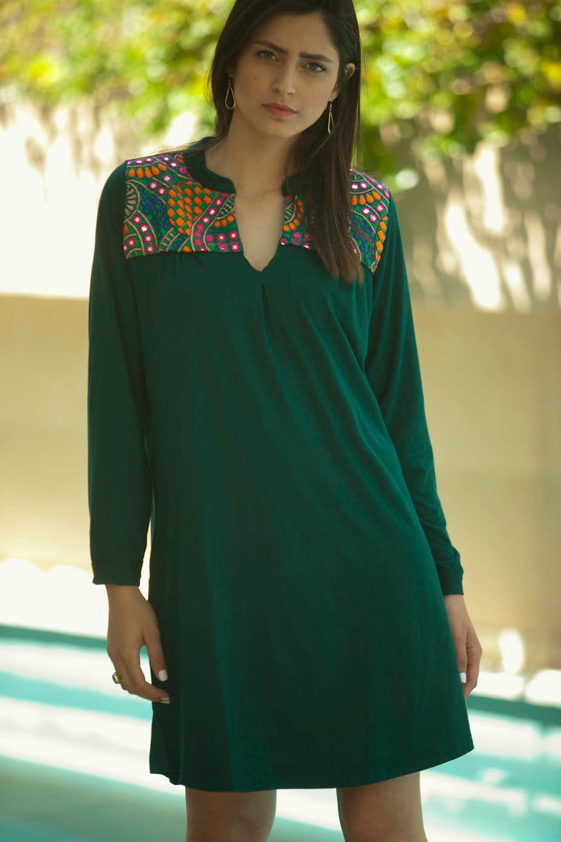 Tribal Embroidery Dress Festival Lycra Dress Kaftan Green Dress Moroccan Caftan Dress Bohemian Dress Green Long Sleeves Ethnic dress