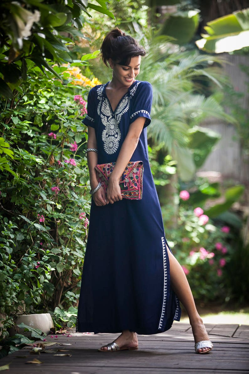 1368152222 Dark Blue Kaftan Dress Boho Moroccan Caftan Ethnic