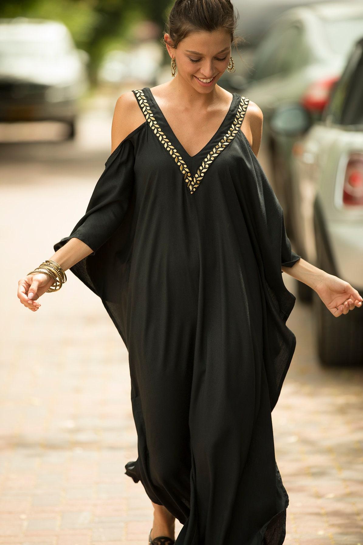f939b4cc2563 Black and Gold Caftan Summer Dress Women Oversized Maxi | Etsy