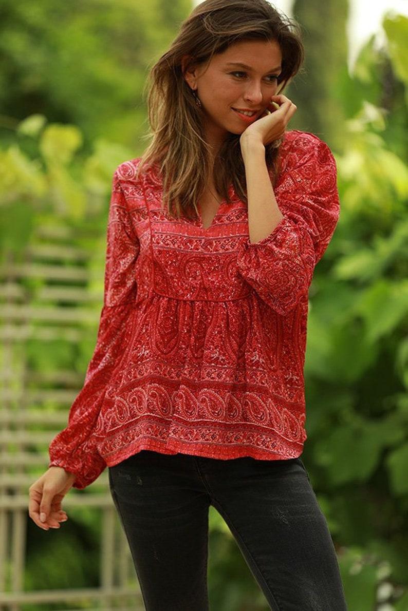 e71928494c13 Raspberry Red Bohemian Women s Blouse Hippie Trendy