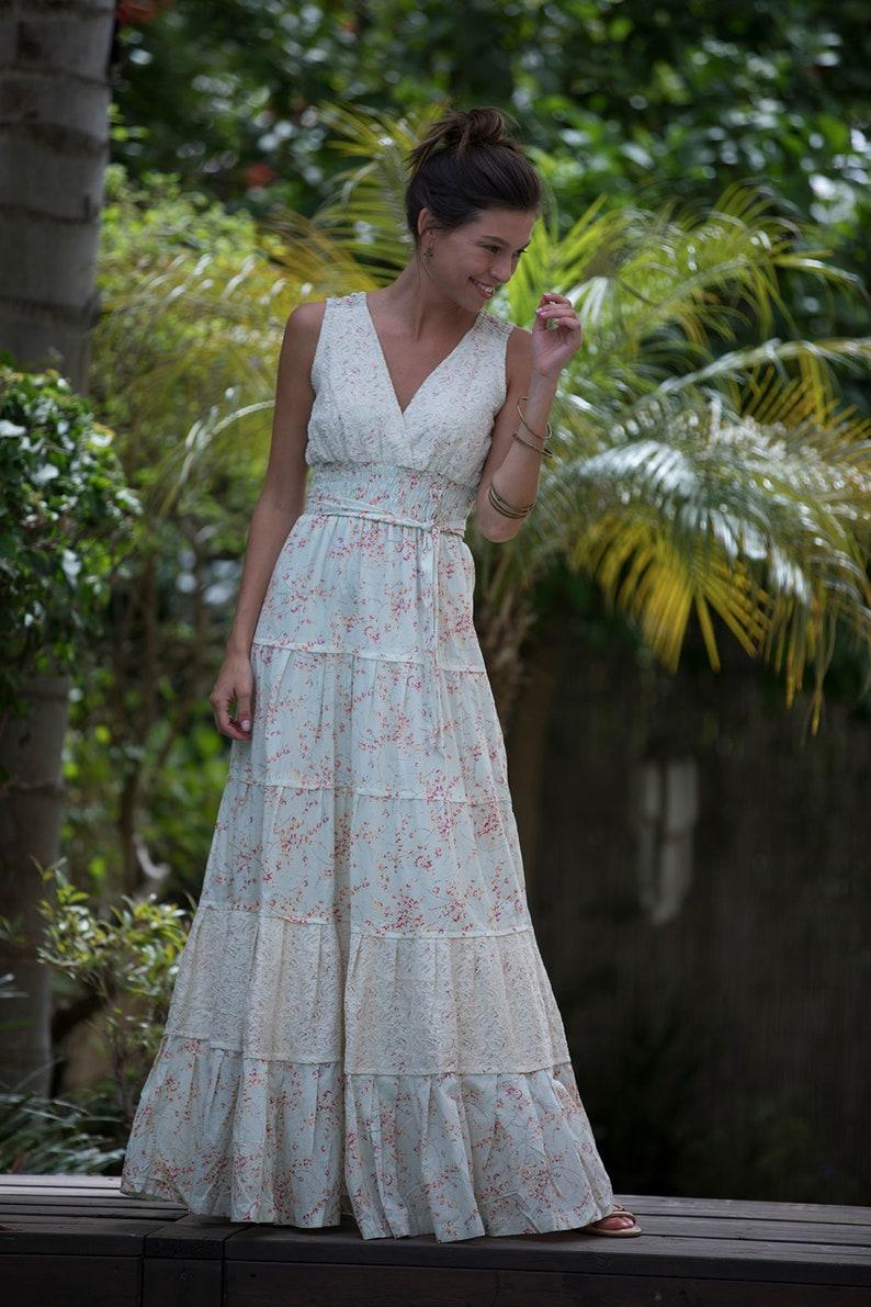 0e5f5185fe65fb Stedelijke Maxi jurk licht groene bloemen Maxi jurk