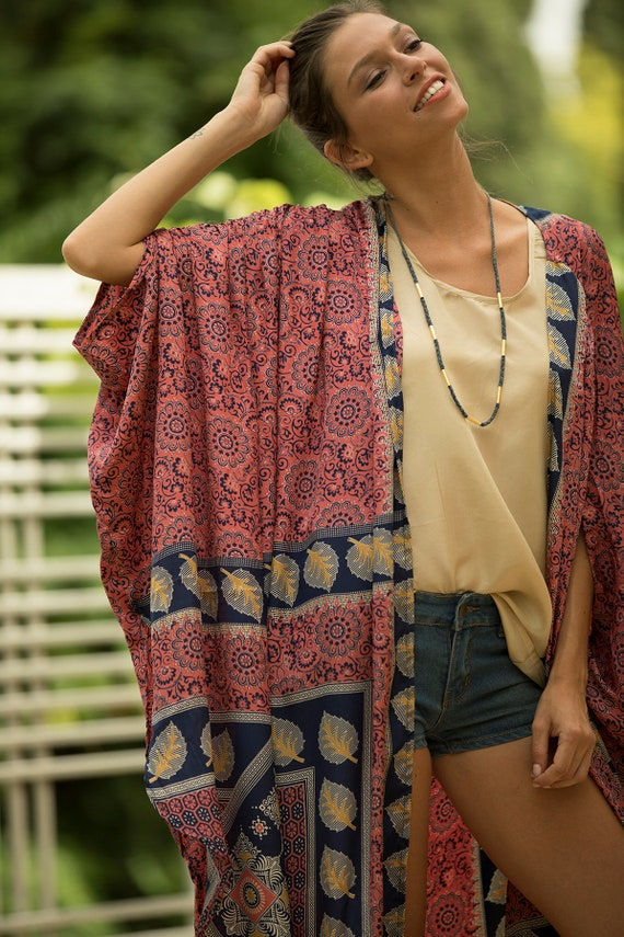 Beach Wear Printed Unique Bohemian Cover Boho Trendy Summer Oversized Kimono Festival Kimono Long Up Women Women Comfy Jacket Kimono ZxXF88TP