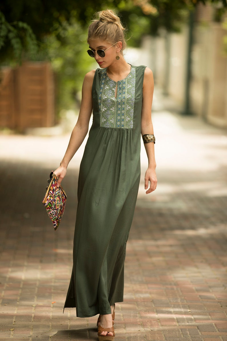 3d7136aa0bab Salvia verde maxi dress abito lungo tribale etnico lungo