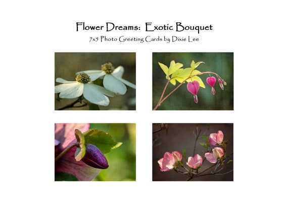 "Set of 4 ""Exotic Bouquet"" 7x5 Greeting Cards, Blank Inside, Professionally Printed on Heavy Classic Felt Card Stock, Folded, White Envelopes"