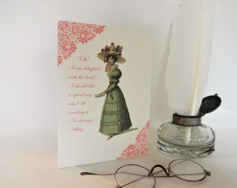 Jane Austen Greetings Card / Ivory Card With Northanger Abbey Quote / Especially Commissioned Unique Card of High Quality / A6, Blank