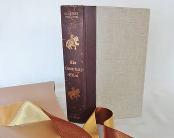 The Canterbury Tales by Geoffrey Chaucer / 1975, The Folio Society, London / With Woodcuts by Edna Whyte / Good Condition / Slipcase Box
