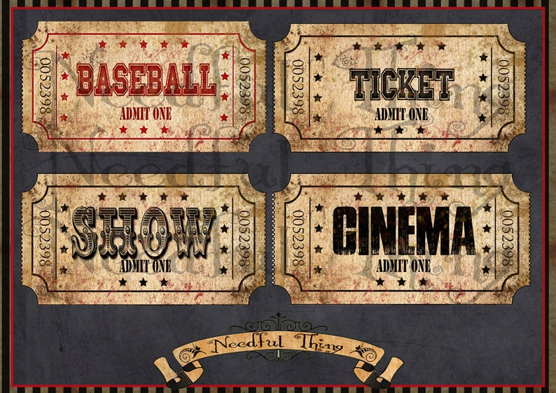 DIGITAL Vintage old paper tags cinema ticket sport show sheet grunge shabby present invitation coupon cards graphics scrapbooking T2