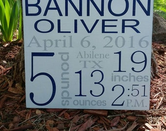 """Birth Stats Wood Sign, Birth Announcement, New Baby, 12""""x12"""""""