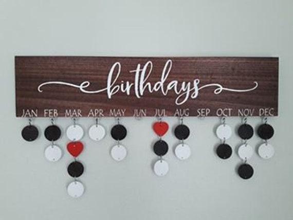Stained Wood Family Birthday Board Family Calendar Family Etsy