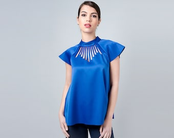 Blue Shirt Women, Blue Women's Shirt, Blue Womens Top, Business Clothes, Cobalt blue Blouse, Office Clothing, Casual Blouse, Shirt for Woman