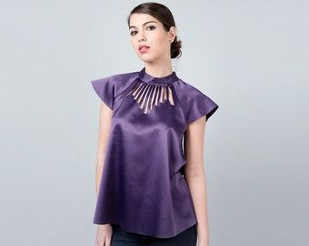 Purple Tops for Women, Metallic Top, Purple Womens Tops, Purple Shirts, Oversized Top, Metallic Clothing, Glam Party Dress, Evening Blouse,