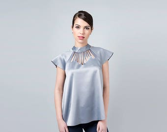 Metallic Top, Silver Top, Metallic Clothing, Glam Party Dress, Party Blouse, Evening Blouse, Metallic shirt, Cocktail party, Bridesmaids