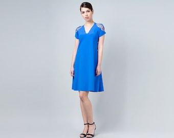 Royal Blue Dress, Blue Summer Dress, Blue Cut Out Dress, Blue Day Dress, Blue Bridesmaid, Blue Party Dress, Prom Dress, Short Sleeve Dress