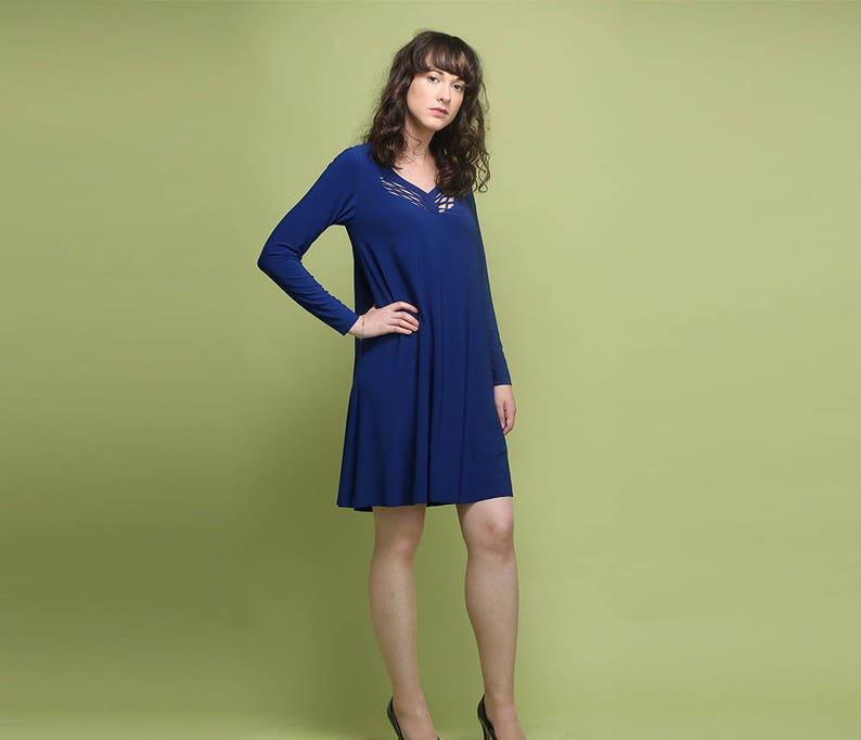 181084545f5 Long Sleeve Dress Royal Blue Dress Wedding Guest Dress