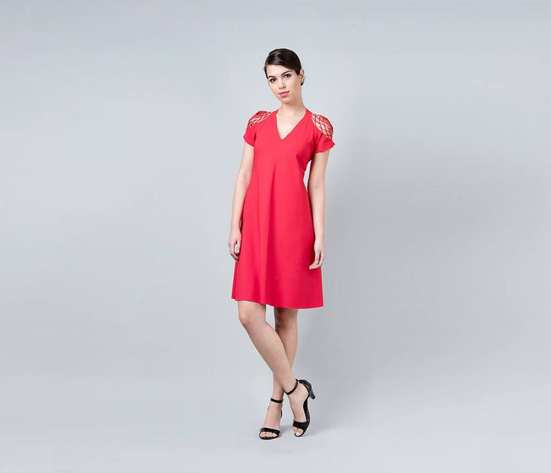 Red Dress Red Party Dress Red Cocktail Dress Red Party  c9ee2034d