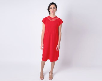 Short Red Dress, Sleeveless Dress, Short Sleeve Dress, Cut Out Dress Red Casual Sumer Dress Every Day Dress Red Office Dress Valentine's Day