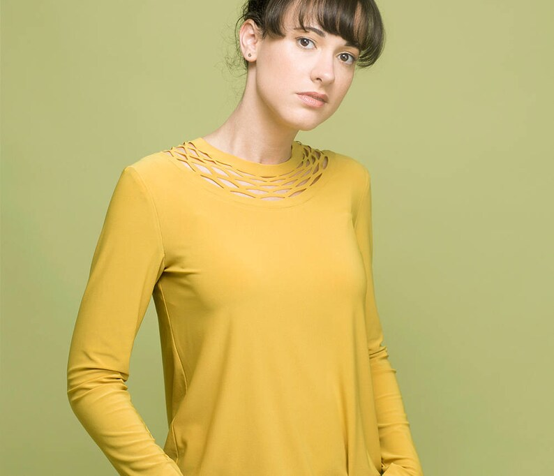 Winter Top Yellow Blouse Yellow Top Mustard Yellow Shirt Womens Long Sleeve Top Womens Blouses Womens Mustard Top Long Sleeve Tunic