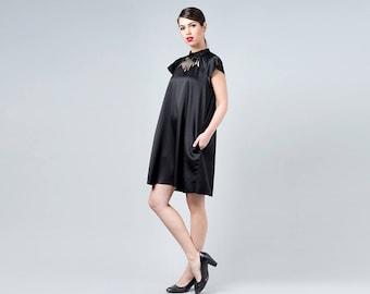 Black Dress, Laser Cut Dress, Prom Dress, Dress with Sleeves, Black Elegant Dress, Black Cutout Dress, Collar Dress, Little Black Dress