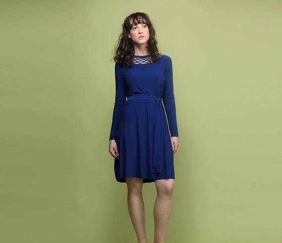 Long Sleeve Dress Royal Blue Dress Wedding Guest Dress Etsy