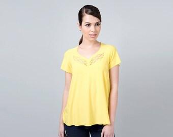 Yellow Top, Short Yellow Top, Yellow Tank Top, Summer Tunic, Yellow summer Top, Yellow T shirt, Handmade Top, Short Sleeve Top, Yellow Shirt