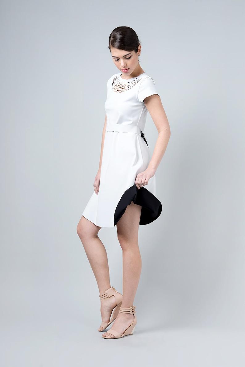 Laser Cut Dress Black Dress Reversible Dress Black and White White Elegant Woman Dress Bridesmaid Dresses Modest Dress Kate Middleton