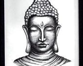 Articles Similaires A Tete De Bouddha Original D Encre Dessin En