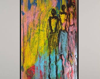Large original abstract figurative  Giclee print painting abstract art original modern abstract acryilic canvas fine wall art canvas paintin