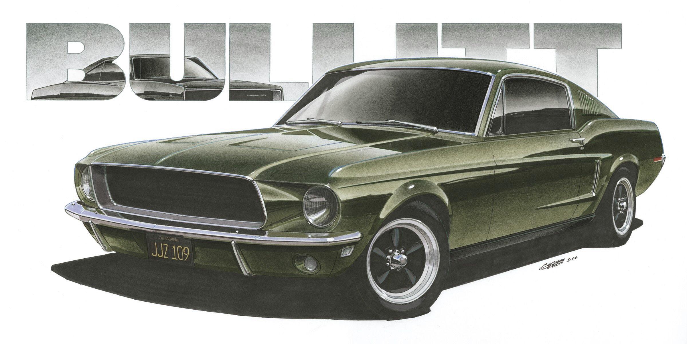 1968 ford mustang steve mcqueen bullitt 12x24 inch art print by jim gerdom